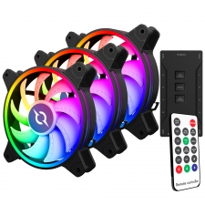 Kit 3 ventilatoare 120 mm RGB cu telecomanda si controller AQIRYS Libra